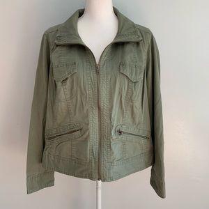 Avenue | Green Khaki Light Zip Up Jacket 14/16
